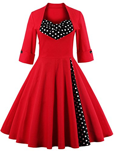 Modest Halloween Costumes 1950s Inspired Vintage Dress, Red Size XL