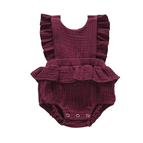 (Newborn Baby Girl Romper Baby Ruffle Romper Halter Sleeveless Toddler Jumpsuit Girl Onesie One Piece Romper Bodysuit Red)