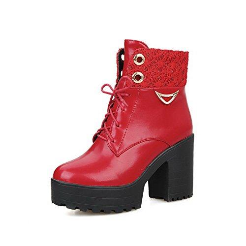 Allhqfashion Stivaletti Donna Tacco Tondo Tacco Alto In Morbido Materiale Rosso