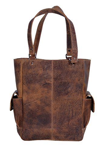 KomalC Genuine Soft Chicago Buff Leather Tote Bag Elegant Shopper Shoulder BagSALE (Grace)