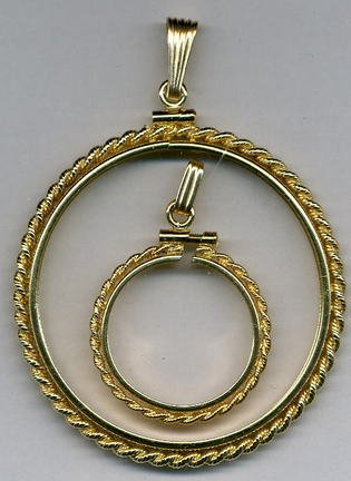 Simulated Rope Style Gold Filled Coin Necklace Bezel / Pendant (Penny (Gold Filled Bezel Coin Pendant)