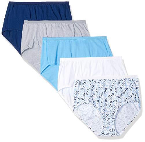 Hanes Ultimate Womens Cotton Comfort Ultra Soft Brief, White Swiss White/Swiss Blue/Swiss Garden Blue/Navy Eclipse/Grey Heather, 5