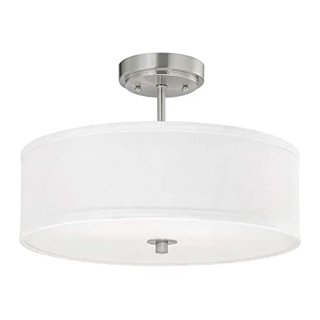sports shoes 67240 d098a Modern Semi-Flush Light with White Drum Shade - 16-Inches Wide