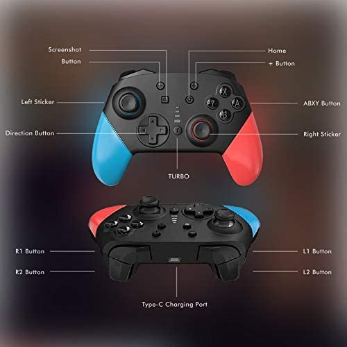 Switch Pro Controller for Nintendo Switch Comfortable 1200mAh Long-Time Play Wireless Gamepad Support Motion Control Dual Vibration Turbo