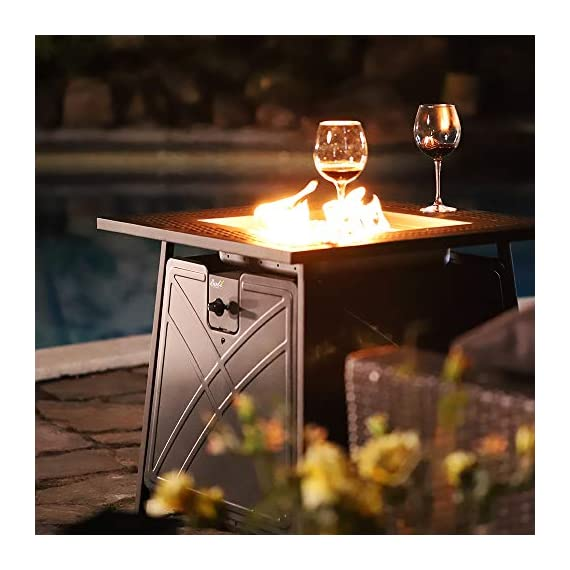 """BALI OUTDOORS Firepit LP Gas Fireplace 28"""" Square Table 50,000BTU Fire Pit, Black - 25"""" Tall x 28"""" Wide Square Gas Fire Pit Table Top 50,000 BTU stainless steel burner Gas Fire Pit Gas Fire Pit hidden control panel with electronic ignition,safety valve for easy start - patio, outdoor-decor, fire-pits-outdoor-fireplaces - 41jvAX%2BrTXL. SS570  -"""