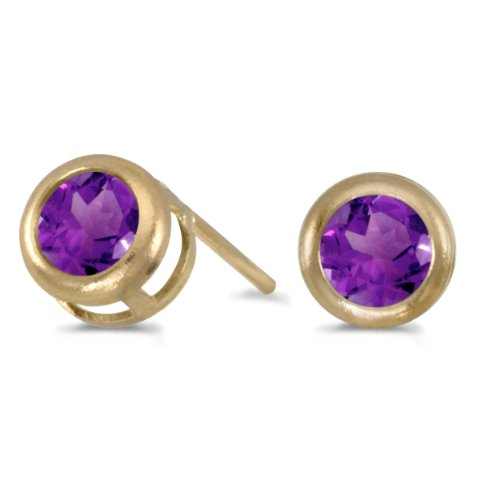 0.32 Carat (ctw) 14k Yellow Gold Round Purple Amethyst Solitaire Stud Earrings with Post with Friction Back (4 MM)