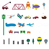 My Wonderful Walls Wall Stencils for Boys Room Transportation Theme, Trains- Airplanes-Cars Room