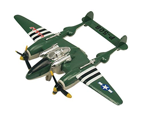 IndusBay Diecast Alloy Metal Body P-508 / P-38 Lightining World War II Fighter Plane Aeroplane Toy for Kids (Size 4.72 Inches) - Green