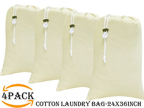 4Pack Cotton laundry bag extra large heavy duty,easy to carry,eco friendly,cotton laundry bags with drawstring,cotton laundry bags for travel,Cotton Santa Claus Christmas Gift,Size 24x36inch Natural by Cotton Clinic