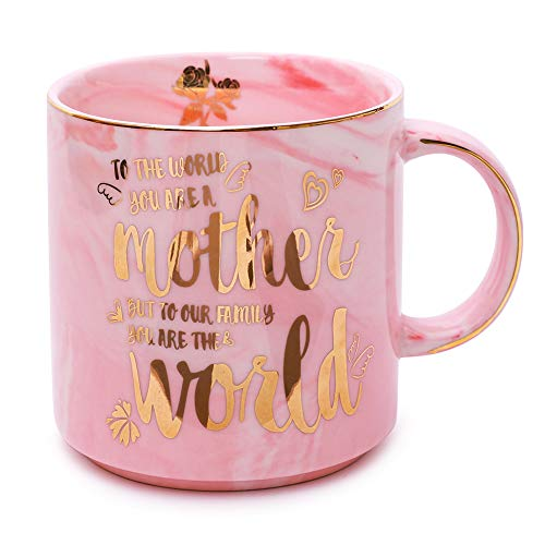 Moms Mug - Mothers Day Gifts and Birthday Gifts - To the World You Are a Mother But To Our Family You Are the World - Ceramic Marble Cups 13 oz (Pink) -