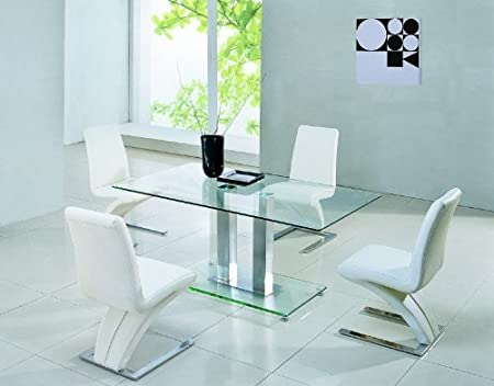 Jet Small Glass Dining Table 4 Futuristic 632 Dining Chairs