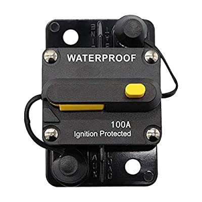 ANJOSHI 100Amp Waterproof Circuit Breaker 50A-300A Auto Car Protection Inline Fuse Stereo Switch Fuse Holders without Fuse Replacing 12V-36VDC: Automotive