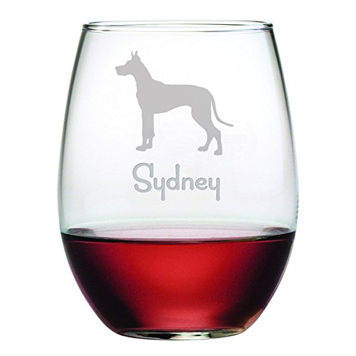 Personalized Dog Breed Stemless Wine Glasses (Set of Four) - Great Dane