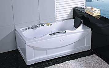 One 1 Person Whirlpool Massage Hydrotherapy White Bathtub Tub, Bluetooth  Ready, With FREE Remote