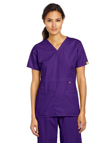 WonderWink Women's Scrubs Peek-A-Boo Top, Grape, Large