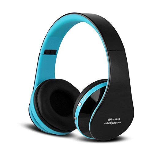 Bluetooth Foldable Headphones, Wireless/Wired Over-Ear Headset Rechargeable Earphones with Built-in Mic 3.5mm Audio Jack MIC (Black Blue)