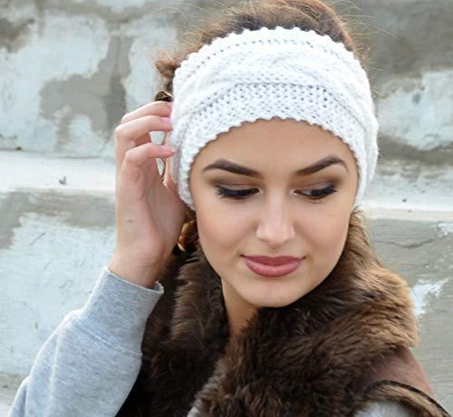 Amazon.com  White Off Knit Headband Cable Headband Womens Fall Fashion Earwarmer  Ear cuff for women Ear Warmers winter headband  Handmade dd9f112a35a