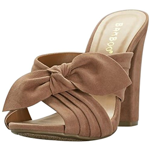 Eel Camel (David's Bridal Knotted Faux-Suede Mules Style ALIMELIGHT65S, Camel, 6)
