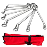 8 Piece Metric Offset Box End Wrench Set, 6mm-22mm,75° Long Double Ring Wrench Drop Forged Spanners with Tool Roll Pouch
