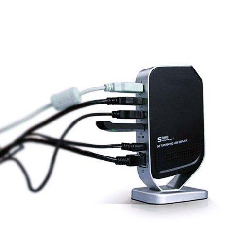 New 4 Port Networking USB 2.0 Print Server M4 Printer Share 4 USB HUB Devices 100Mbps Network Print Server Generic