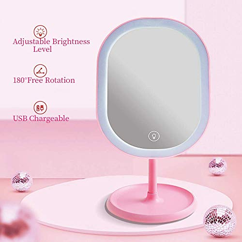 Makeup Mirror with LED Lights, Adjustable Brightness Portable Cosmetic Mirror, 180 Degree Free Rotation Tabletop Vanity ()