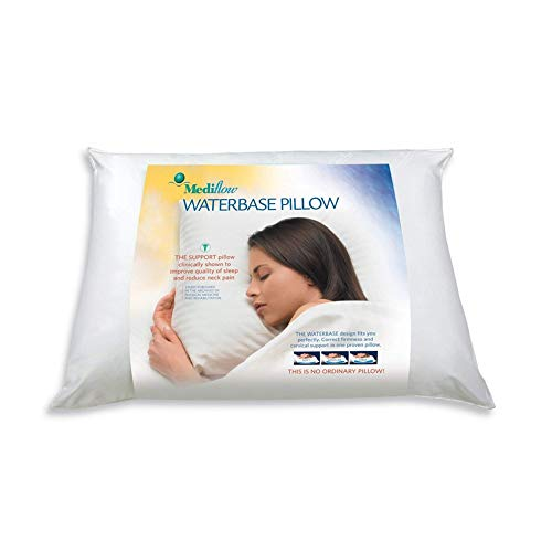 Mediflow : The first & original water pillow, clinically proven to reduce neck pain. Therapeutic, ideal for those who suffer from sleep trouble and whiplash, Single, White (Renewed)