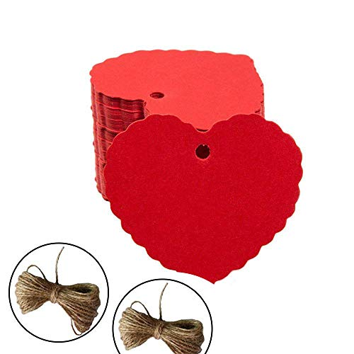 200pc Peach Heart Shape Kraft Paper Tags, CRIVERS Gift Tags/Hang Tags with Free Natural Jute Twine for Christmas Wedding Thanksgiving Birthday Holiday Party Favors (Red) -