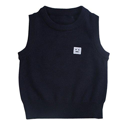 Wennikids Baby Boys Kids O-Neck Pullover Sweater Vest Medium Black