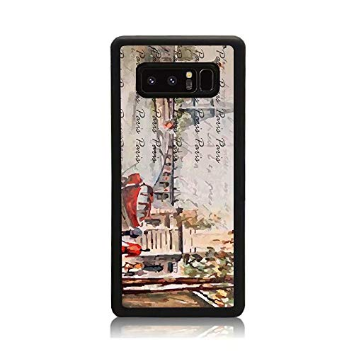Galaxy Note 8 Case - Slim Cover with Old Paris Postcard with Eiffel Tower Print Protective Shock Drop Proof Impact Resist Durable Case for Samsung Galaxy Note 8