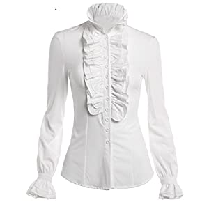 DEARCASE Women Stand-Up Collar Lotus Ruffle Shirts Blouse