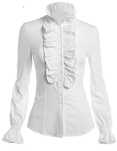 DEARCASE Women Stand-Up Collar Lotus Ruffle Shirts Blouse (X-Large, White) -