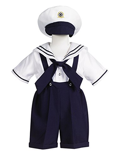 Navy Short Sailor Anchor (White Sailor Top w/Navy Shorts and suspenders, Size 4T)