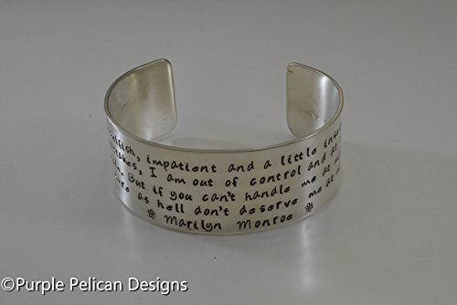Sterling Silver Marilyn Monroe Quote Cuff Bracelet - I am selfish, impatient, and a little insecure... by Purple Pelican Designs
