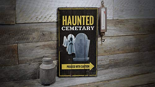 Xusmimo Haunted Cemetery Sign Halloween Sign Halloween Decor Haunted Wood Sign Wooden Sale Decor Wooden Wall Decor Wooden Old Sign]()