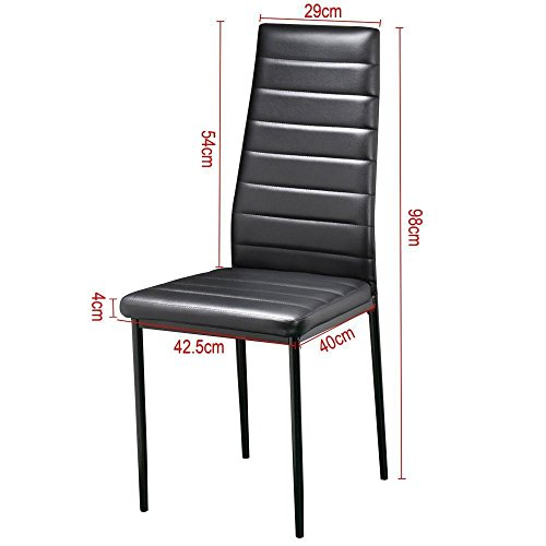 IDS Online 6 PCS Set Modern Style PU Leather Dining Side Chair with Foot Pad Black by IDS Online (Image #3)