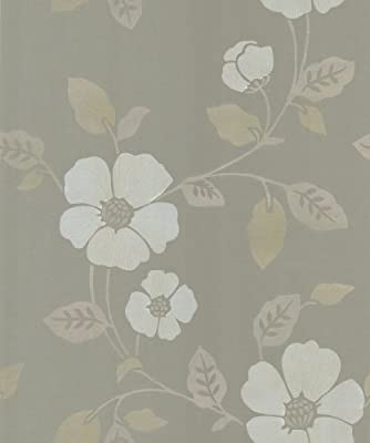 Brewster Beacon House Ink Black White Neutral Veined Floral Wallpaper