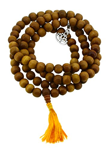 - Tibetan Zen Buddhist Wooden 108 Yoga Meditation Mala Prayer Beads, 12mm (Lotus)
