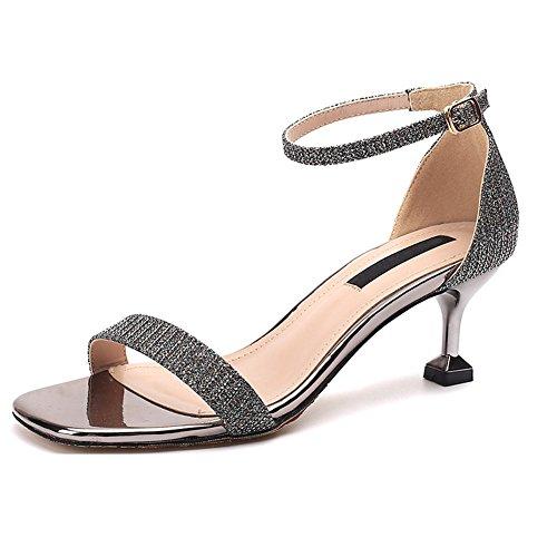 Chaussures Sandales Talon pour Dames Talons Hauts Noir à Ouvert Ruiren pour Femmes 4nq8wOwZ