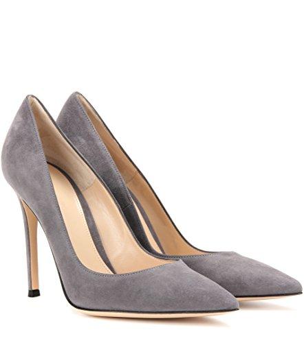 A 10 Tacco Col Cm Spillo Donna Grigio Chiuse Edefs Heels Scarpe Elegante Davanti High SBaqzx