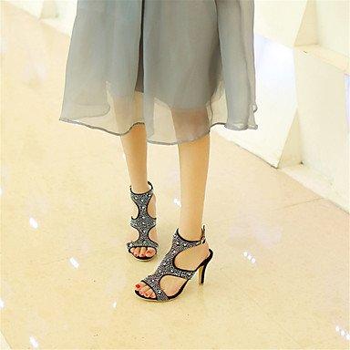 LvYuan Mujer-Tacón Stiletto-Innovador Zapatos del club-Sandalias-Vestido Informal Fiesta y Noche-Terciopelo-Negro Azul Morado Purple