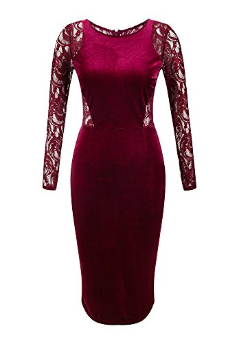 OLRAIN Women's Long Sleeve Velvet Lace Midi Wrap Dress Wine Red Large