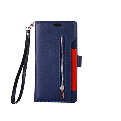 Galaxy Note 8 Case, SUPZY Leather [9 Card slots] [photo & wallet pocket] Multi-function Premium PU Leather Magnetic Flip Shockproof Zipper Wallet Case Cover for Samsung Galaxy Note 8 (Navy Blue) - Check Hard Case Cover