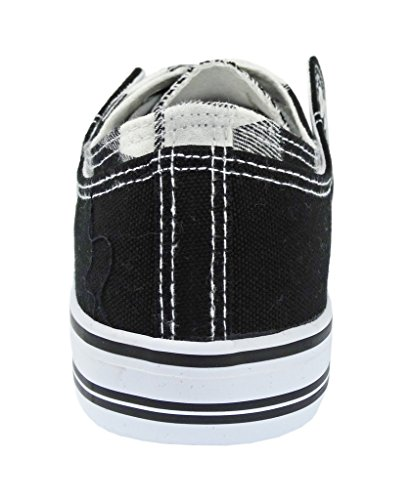 Pierre Dumas Womens Sneakers Tennis shoe Logan-2 Canvas Double Upper Lace-Up Fashion Sneakers with Checkerboard Upper Black LysfTj1