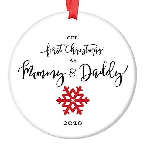 First Christmas as Mommy & Daddy 2020 Tree Ornament Infant Girl Boy Newborn Son Daughter 1st Time New Parents Porcelain Keepsake Cute Red Snowflake 3