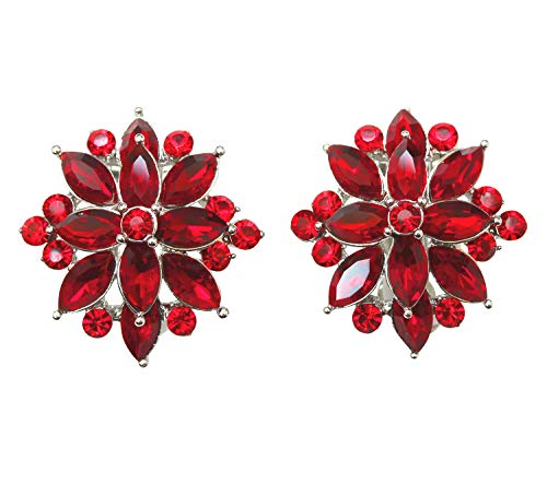 - Faship Gorgeous Red Crystal Clip Ons Earrings - Red