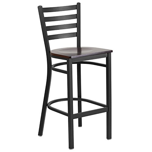 Back Wood Seat Stool (Flash Furniture HERCULES Series Black Ladder Back Metal Restaurant Barstool - Walnut Wood Seat)
