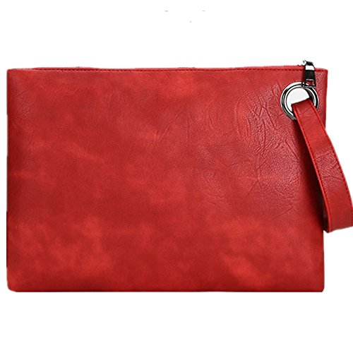 Evening Bags Purse Envelop Clutch Chain Shoulder Womens Wristlet Handbag Foldover Pouch (red) by J-BgPink