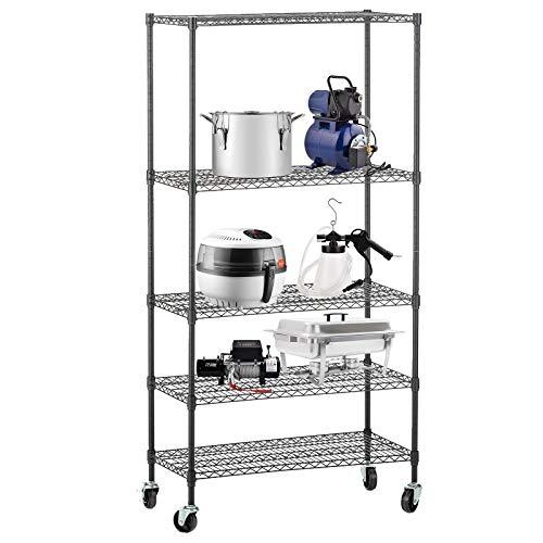 - SUNCOO 5 Tier Strengthen Commercial Adjustable Steel Wire Shelf Unit with Stiffeners with Wheels Wire Shelves Storage Racks Kitchen Garage