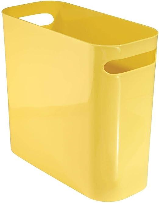 mDesign poubelle avec poignées – idéale comme poubelle cuisine ou comme  corbeille à papier – plastique durable – pour cuisine, salle de bain et  bureau ...