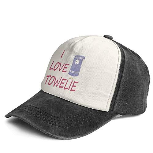 Vintage I Love Towelie Cotton Adjustable Washed Dad Hat Baseball Cap Black/White